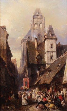 procession à rouen by louis gabriel eugène isabey