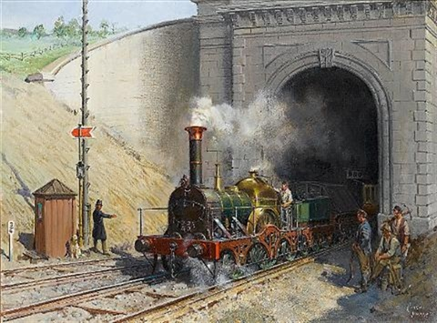 firefly leaving box tunnel great western railway by terence cuneo