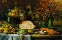 stilleben mit früchten, schinken und languste by gabriele arnhardt-deninger