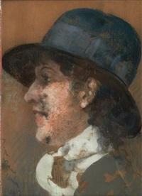 portrait de femme de profil au chapeau by jean albert grand-carteret