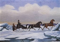 a tandem sleigh crossing a frozen river by evelyne marie (lady) alexander