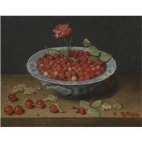 a still life of wild strawberries and a carnation in a ming bowl, with cherries and redcurrants on a wooden ledge by jacob van hulsdonck