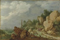 a rocky landscape with christ on the road to emmaus by gillis claesz de hondecoeter