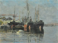 boatyard, sydney harbour by perceval charles (percy) lindsay