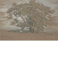 pine trees at el monte by samuel colman