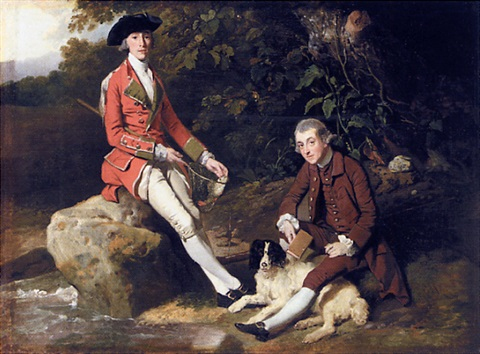 portrait of john yorke and colonel coore, seated in a landscape, with a spaniel by johann joseph zoffany