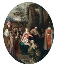 l'adoration des mages dans un liseré d'or ovale by cornelis de baeilleur