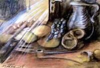 stillleben mit früchten und pfeife by marie-luise albeck