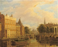 a view of the river of amstel with the nieuwmarkt and oude kerk, amsterdam by augustus wijnantz