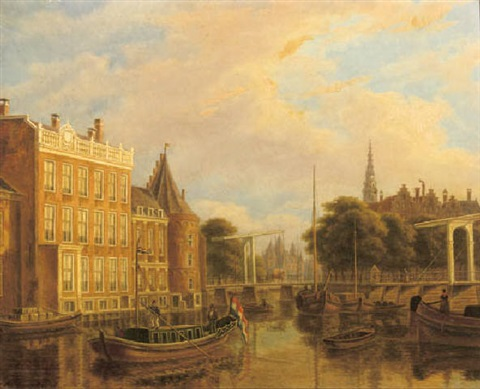 a view of the river of amstel with the nieuwmarkt and oude kerk amsterdam by augustus wijnantz