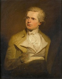 self portrait of an artist, said to be samuel de wilde, seated, in a buff coat with a white waistcoat and a white cravat by samuel de wilde