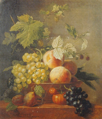 still life of grapes peaches raspberries and plums by arnoldus bloemers