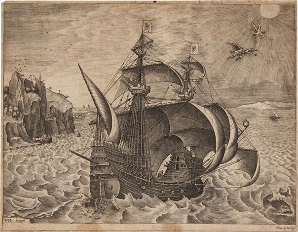 navire à trois mats armé avec quatre hunes et deux voiles de perroquets (engraved by franz huys) by pieter brueghel the elder