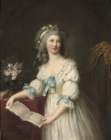 portrait of marie françoise dumesnil 1713 1803 three quarter length in a white dress with blue ribbons and a yellow sash flowers in her hair a musical score in her hands by marie victoire lemoine
