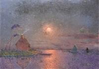 coucher de soleil en brière sur l'eau by ferdinand puigaudeau