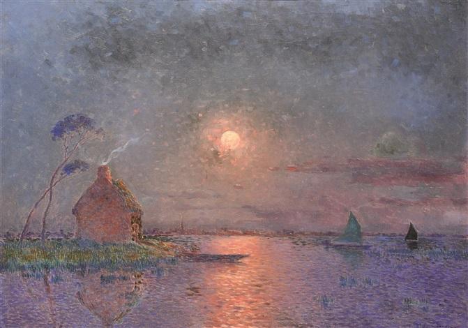 coucher de soleil en brière sur leau by ferdinand puigaudeau