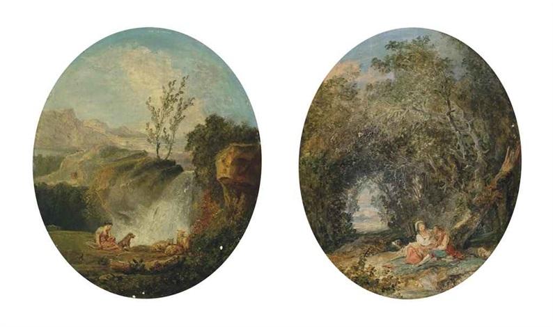 adélaïde rêveuse adélaïde console un berger qui lui dit être le fils de madame de fontrose pair by hubert robert