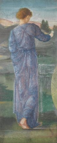 a female figure in a landscape by edward burne jones