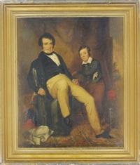portrait of joseph e. winner and his son septimus winner in an interior by william e. winner