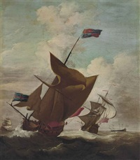an english royal yacht, with the lord high admiral, prince george (husband of queen anne, 1653-1708) aboard, amidst escorting warships in a stiff breeze by peter monamy
