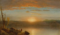 indians at sunset (sunset in the wilderness) by sanford robinson gifford