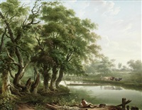 a wooded river landscape with an angler in the foreground by charles towne