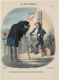 position réputée la plus commode pour avoir un joli portrait au daguerreotype (+ another; set of 2) by honoré daumier