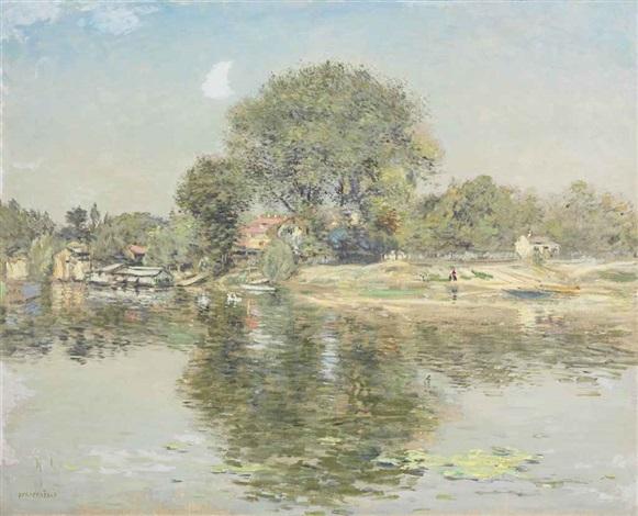 barques à pierrefitte en été by jean françois raffaëlli