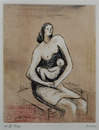 mother and child iii (from the mother and child portfolio) by henry moore