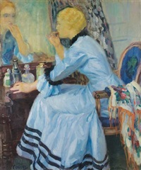 ecole américaine la robe bleue by edward cucuel