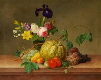 still life with flowers and fruit by johannes ludwig camradt