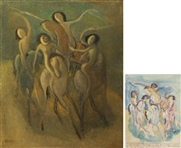 nudes on horseback (2 works) by yun gee