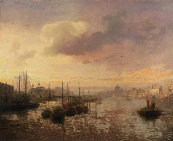 venetian canal scene by hermann herzog