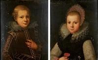 portrait de jeune homme à colerette (+ portrait de jeune fille à la fraise; 2 works) by gortzius geldorp