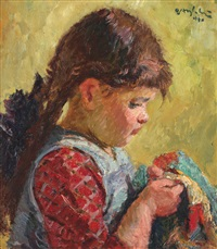 little girl sewing by octavian angheluta