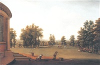 landscape with figures by a palladian house in a park by william tomkins
