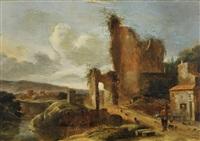 le retour du chasseur devant une ruine du château by charles cornelisz de hooch