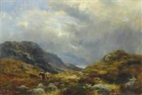 a highland scene with highland cattle in the foreground, a rainstorm passing over a loch beyond by james faed the younger