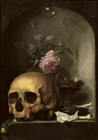 a vanitas with a skull, mixed flowers, an oil lamp, pipes and a soap bubble in a stone niche by hendrick andriessen