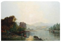 a bright morning on the river usk by edwin henry boddington
