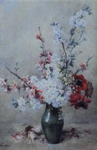 vase de fleurs sur un entablement by auguste rivoire