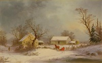 winter-time on the farm by george henry durrie