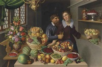 tulips, carnations and other flowers in a vase, with melons strawberries, peaches, apples, grapes and other fruit on a table in an interior, a man and woman in the background by georg flegel and martin van valckenborch