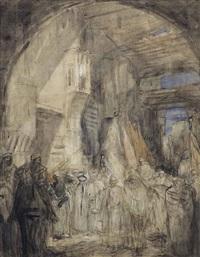 a procession (recto); a bazaar (verso) by marius bauer