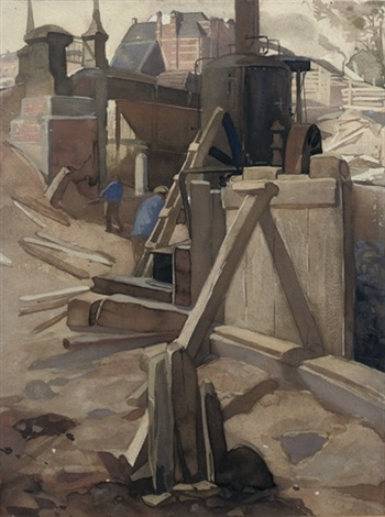 construction site at the rijksmuseum amsterdam by johan joseph aarts