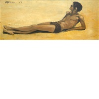 reclining young man by robert r. bliss