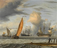 dutch vessels in choppy seas, a fisherman on the shore in the foreground by pieter coopse