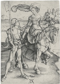 a lady on horseback and a lansquenet by albrecht dürer