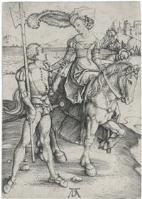 a lady on horseback and a lansquenet by albrecht dürer