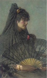 a spanish lady holding a fan by henry sykes